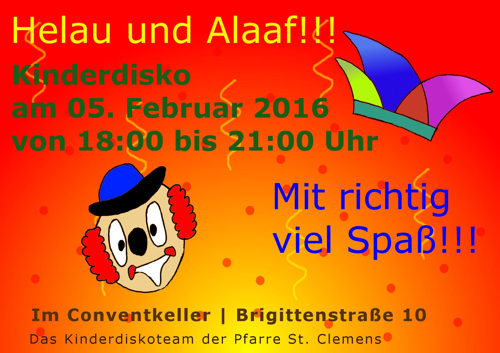 Kinderdisko Flyer Karneval